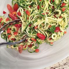Cranked the new spiraliser into action today and made a Zoodle Salad. Love the long noodle-like strands. Yes we are eating heaps and heaps more zucchini!!