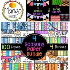 "100 (12"" x 12"") digital papers for all four seasons and BONUS 4 banners with this bundle! Great for backgrounds, decorating teachers pay teachers lessons and much more! https://www.teacherspayteachers.com/Product/Four-Seasons-Digital-Paper-Bundle-Winter-Spring-Summer-Fall-2144815"