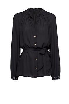 MANGO - Smocked blouse belt