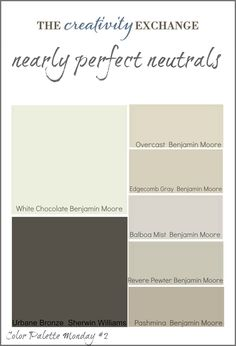 Collection of great neutral paint colors used frequently by home builders and designers (Color Palette Monday #2) The Creativity Exchange