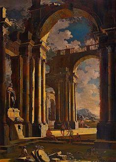 Architectural Capriccio. Leonardo Coccorante. Italian 1680-1750. oil/canvas.