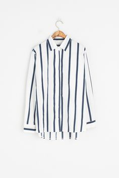 Pin Stripe Shirt, Navy, 100% Cotton