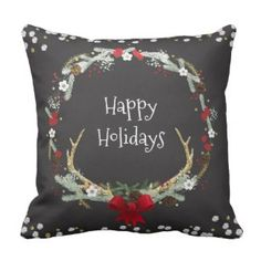 Rustic Christmas Antler Wreath Holiday Decor Throw Pillow 40% off with code: LOVEZGIFTS50 ends 11/20! Christmas throw pillows on sale now!
