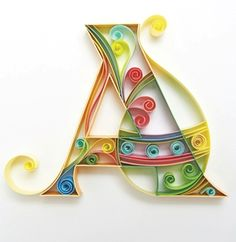 Letter A Quilling Arte Quilling, Quilling Letters, Paper Quilling Designs, Quilling Paper Craft, Paper Crafts, Quiling Paper Art, Schrift Design, Rolled Paper Art, Quilling Tutorial