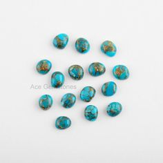 Blue Copper Turquoise Small Nuggets 6x7mm Smooth Calibrated Cabochons Gemstone, Supplies Gemstone - 15 Pcs