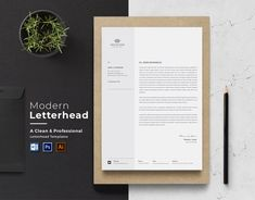 by CreativeZoom on Etsy Letterhead Paper, Letterhead Business, Business Cards, Printable Invoice, Invoice Template, Company Letterhead Template, Invoice Sample, Resume Templates, Microsoft Word
