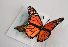 3D Pop up Monarch Butterfly card any occasion monarch butterfly on Etsy, $5.00