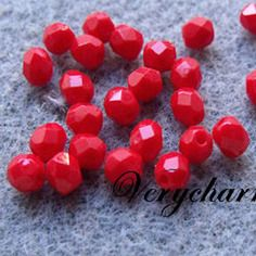 Perles facette de bohême opaque dark red coral