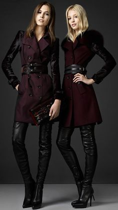 Burberry - MID-LENGTH PONYSKIN SLEEVE COTTON GABARDINE TRENCH COAT with thigh boots runway fashion