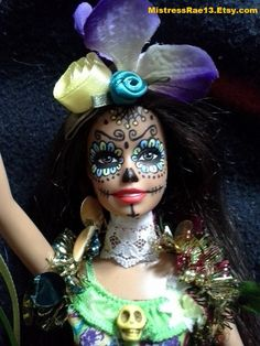 JULIA Sugar Skull Barbie by MistressRae13 on Etsy, $18.00