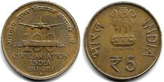100 YEARS OF INDIAN CIVIL AVIATION RS 5 COMMEMORATIVE COIN- 2011      Features of coin  Year of issue – 2011  Country- India  Face value-...