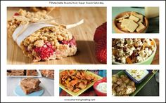 7 Super Snacks including coconut cream bars, parmesan almond crackers, baked sweet potato chips, strawberry crumble bars, popcorn trail mix and more! #snacks #recipes