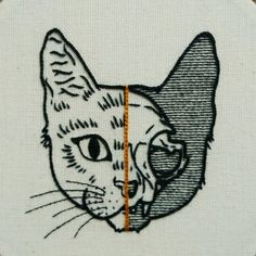 PDF pattern - PDF pattern - Half Cat Skull Hand Embroidery Pattern (PDF pattern - modern embroidery pattern) - *** This is a digital embroidery pattern – no physical goods will be shipped – it is an instant - Hand Embroidery Stitches, Modern Embroidery, Embroidery Patches, Crewel Embroidery, Hand Embroidery Designs, Embroidery Kits, Embroidery Techniques, Brush Embroidery, Embroidery Tattoo