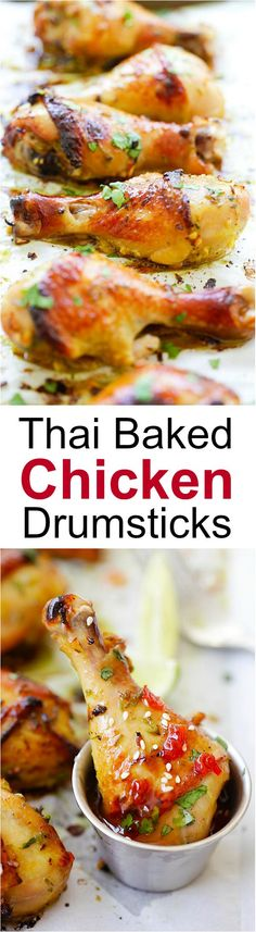 Thai Baked Chicken Drumsticks – juicy, tasty, moist chicken marinated with amazing Thai flavors and baked to golden perfection. Turkey Recipes, Chicken Recipes, Dinner Recipes, Chicken Flavors, Chicken Meals, Baked Chicken Drumsticks, Marinated Chicken, Chicken Wings, Cocina Light