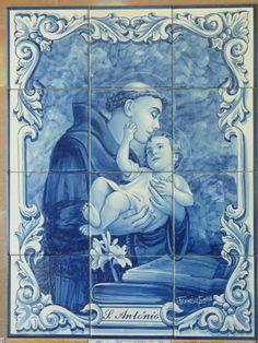 Tile Art, Mosaic Art, Mosaic Tiles, St Anthony's Feast, Saint Anthony Of Padua, Orisha, Portuguese Tiles, Blue And White China, Blue Tiles
