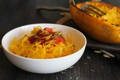 Spaghetti squash with tomatoes and spinach - add protein