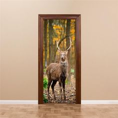 YunXi New Door Stickers Forest Animal Deer Stickers Bedroom Living Room Background Decoration Waterproof Pvc Wall Stickers Sticker Auto, Home Decoration Brands, Wall Stickers 3d, Wall Decal, Deer Pattern, Background Decoration, Door Murals, Pvc Wall, Living Room Pictures