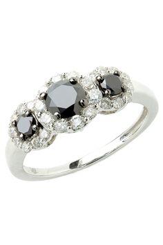 Black & White Diamond Ring In White Gold.