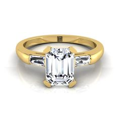 Emerald Cut Diamond Engagement Ring With Tapered Baguette Sides In 14k Yellow Gold (1/5 Ct.tw.)