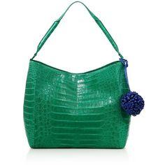Nancy Gonzalez Crocodile Pom-Pom Hobo Bag ($3,815) ❤ liked on Polyvore featuring bags, handbags, shoulder bags, apparel & accessories, green croc handbag, croc handbags, croc embossed handbags, nancy gonzalez handbags and crocodile purse