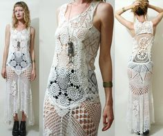 Crochet Dress VINTAGE Full LACE White Fishtail/Train Bohemian Hippie Cotton Scallop Wedding Handmade ooak Size XS