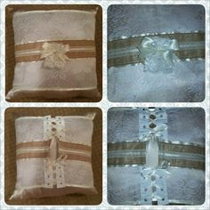 Mom's Birthday Gift: Silk pillow with added corset-style lace wrap. Burlap band with lace and pearl embellishment.