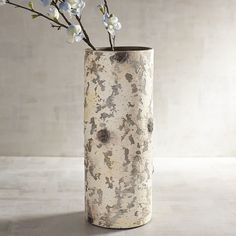 White Faux Birch Terracotta Cylinder Vase