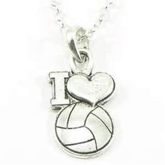 FTH® I Heart Volleyball Pendant with Chain Volleyball Rules, Volleyball Jerseys, Volleyball Necklace, Sport Wear, Girls Be Like, Chain, Pendant, James Avery, Silver