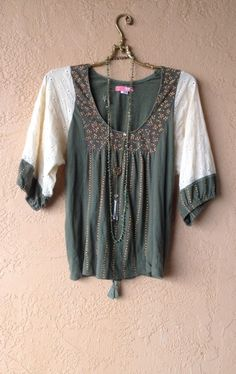 Anthropolgie Lux Olive green and eyelet lace peasant top with floral print