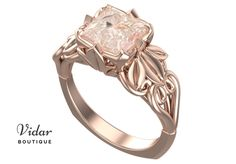 Flower Engagement Ring,Unique Engagement Ring,Morganite Engagement Ring By Vidar Botique,Floral Engagement Ring,Vintage Ring,Leaves Ring by VidarBoutique on Etsy