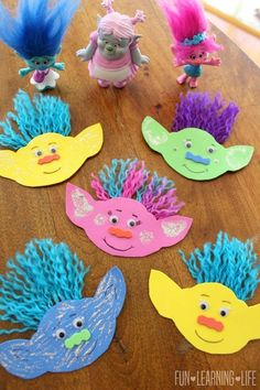 Make adorable and silly Tolls inspired by the cute Disney movie! Easy craft for … Make adorable and silly Tolls inspired by the cute Disney movie! Easy craft for preschoolers and kindergartners! – Disney Crafts Id Trolls Birthday Party, Troll Party, Diy Birthday, Birthday Ideas, Birthday Parties, Third Birthday, Easy Arts And Crafts, Simple Crafts, Easy Kids Crafts