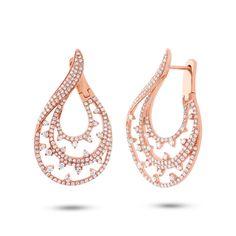 Unique #RoseGold #Diamond Swirl Wrap Hoop Earrings: http://www.ebay.com/itm/Unique-2-09-CT-14K-Rose-Gold-Round-Diamond-Semi-Wrap-Twist-Hoop-Drop-Earring-/231787101409?hash=item35f7967ce1