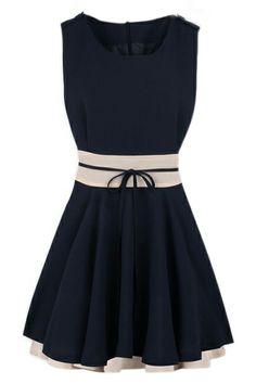 ROMWE | ROMWE Color Block Self-tied Pleated Navy-blue Dress, The Latest Street Fashion