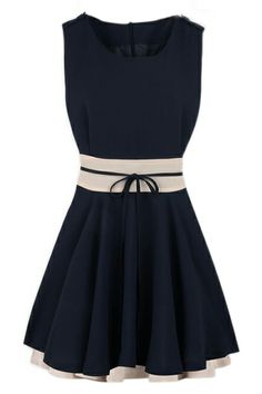 ROMWE   ROMWE Color Block Self-tied Pleated Navy-blue Dress, The Latest Street Fashion