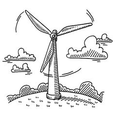 Rotating Wind Turbine Drawing