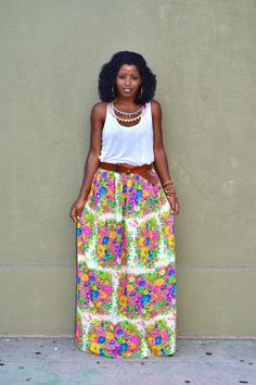 ME Pyramid Necklace + White Tank + Floral Maxi Skirt