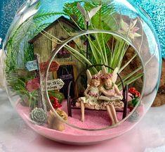 Fairy Garden Terrarium Kit ~ Air Plant Terrarium Kit ~ Fairy Door opens ~ Fairy Lane sign ~ Reading Fairies ~ Fairy Garden Kits ~ Gift - All For Herbs And Plants Air Plant Terrarium, Garden Terrarium, Terrarium Ideas, Fairy Lanterns, Fairy Lights, Fairy Garden Houses, Fairy Gardens, Cup And Saucer Crafts, Beach Themed Art