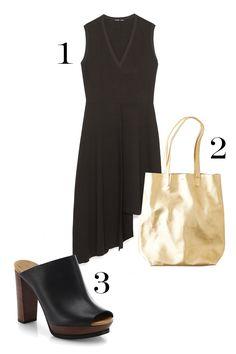 1. Zara Dress With Overskirt, $39.90; zara.com. 2. Merona Women's Genuine Leather Slouchy Tote, $99.99; target.com. 3. Baggu Leather Basic Tote, $160; ae.com.   - MarieClaire.com