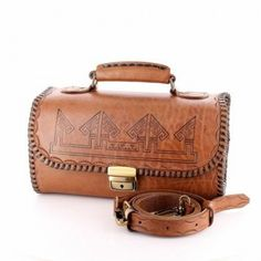 Authentic Hand made Leather Bags Turkish Ethnic Patterned Cylindrical Hand Bags