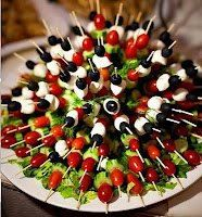 Olives, feta cheese & cherry tomatoes on a toothpick
