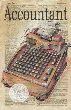 PRINT:  Accountant Mixed Media Drawing on Antique Dictionary by flyingshoes