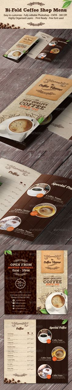 Buy Bi-fold Coffee Shop Menu Template by yokan on GraphicRiver. Bi-fold coffee shop menu template Features - - CMYK - Easy to customize - Fully editable Photoshop - Hi. Stationery Design, Brochure Design, Food Menu Template, Menu Templates, Coffee Shop Menu, Colorful Kitchen Decor, Menu Flyer, Wood Logo, Restaurant Menu Design