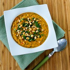 Slow Cooker Thai-Inspired Butternut Squash and Peanut Soup with Red ...