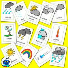 Spanish flash cards for weather