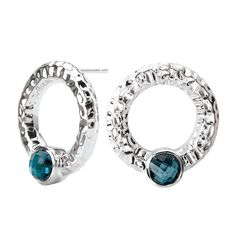 Sterling Chic Collection Hammered Circle Silver Earrings with Blue Topaz