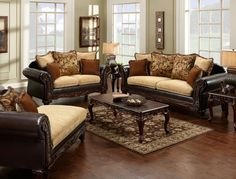 Sofa & Love Seat Set Doncaster Collection Sm7430 Dark and light fabrics work in harmony to produce this stunning set. Decorative wood trims are found on the arm panels and base, while beautiful pillow