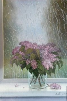 Buy The author's picture may rain. A bouquet of lilacs. - pale pink