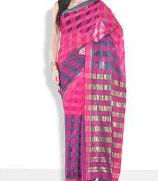 Buy Pink hand_woven handloom saree with blouse handloom-saree online