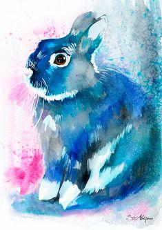 Black Rabbit watercolor painting print animal por SlaviART