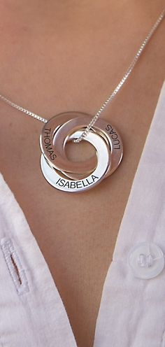 Buy Sterling Silver Russian Ring Necklace with Engraving from MyNameNecklace Canada! Our personalized jewelry is the perfect gift for every occasion Jewelry Box, Silver Jewelry, Jewelry Accessories, Fashion Accessories, Jewelry Design, Fashion Jewelry, Jewelry Making, Silver Ring, Jewelry Drawer